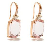 Diamond, Morganite & 18kt Rose-gold Drop Earrings