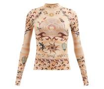 High-neck Tattoo-print Jersey Top
