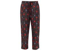 Fern Floral-print Silk-faille Trousers