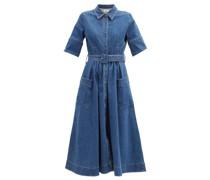 Belted tton-blend Denim Dress