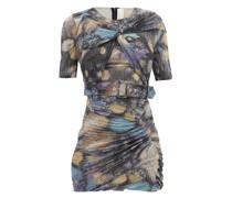Twist-front Metallic-jersey Mini Dress