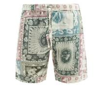 Lamba-print Organic-linen Pyjama Shorts