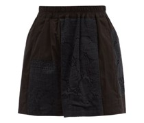 Narmin Lace-panel Upcycled-cotton Shorts