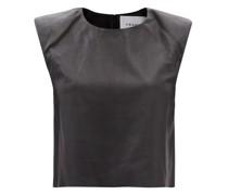 Padded-shoulder Leather Top