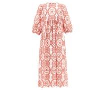 Vanessa Broderie-anglaise Cotton-blend Midi Dress