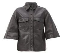 Bell-sleeve Leather Shirt