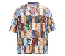 Marble-patchwork Cuban-collar Silk Shirt