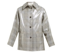 Checked Lacquered Single-breasted Coat