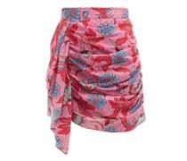 Hannah Floral-print Ruched Cotton Mini Skirt
