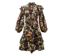 Ruffled Floral Silk-cloqué Dress