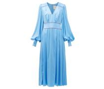Teruko Pleated Silk-charmeuse Midi Dress