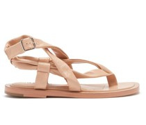 Crossover-strap Leather Sandals
