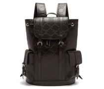 Explorer Logo-embossed Leather Backpack
