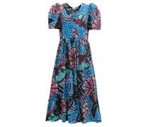 Nisha Puff-sleeve Cotton-poplin Midi Dress