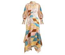 Geometric-print Hammered Silk-blend Midi Dress