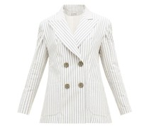 Striped Cotton-blend Seersucker Suit Jacket
