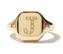 Initial Diamond & 18kt Gold Pinky Ring (j-q)
