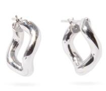 Wave Rhodium-plated Sterling-silver Hoop Earrings