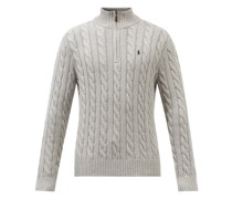 Logo-embroidered Cable-knit Cotton Sweater