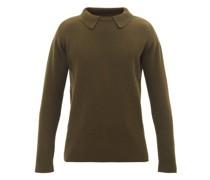 Layered-collar Ribbed-wool Sweater