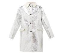 Reversible Metallic-pvc And Shearling Jacket