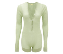 Tommy Buttoned Rib-knitted Silk Bodysuit