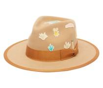 Aqua Fino Appliqué Felt Fedora Hat