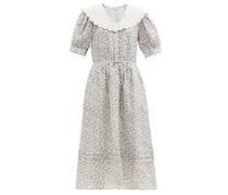 Bubbie Puff-sleeve Floral-print Ramie Midi Dress