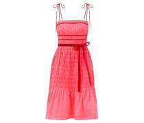 Joyce Velvet-trimmed Shirred-taffeta Dress