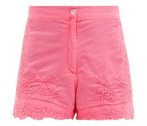 Floral-embroidered High-rise Cotton Shorts
