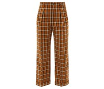 High-rise Check Wool Straight-leg Trousers