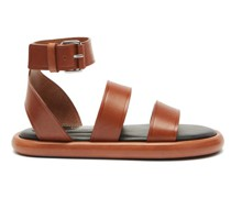 Pipe Padded-insole Leather Sandals
