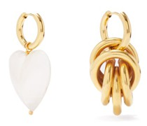 Mismatched Gold-plated Hoop Earrings