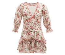 Marquise Rose-print Cotton-poplin Mini Dress