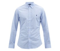 Logo-embroidered Gingham Cotton-poplin Shirt