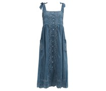 Square-neck Hand-embroidered Cotton-chambray Dress