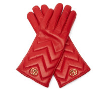 Gg Marmont Chevron-quilted Leather Gloves