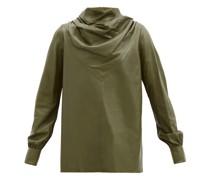 Bilbi Drape-neck Leather Top