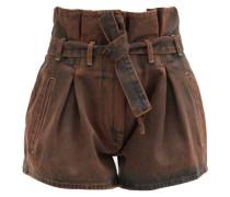 Paperbag-waist Acid-washed Denim Shorts