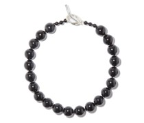 Onyx & Sterling-silver Beaded Choker Necklace