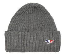Tricolour Fox Ribbed Wool-blend Beanie Hat