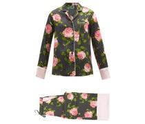 Floral-print Polka-dot Silk-satin Pyjamas
