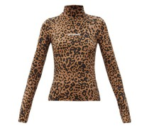 Logo And Leopard-print Stretch-jersey Top