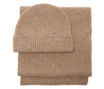 Donegal Ribbed-cashmere Beanie And Scarf Set