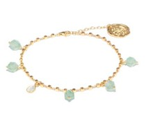 Jade-beaded 24kt Gold-plated Chain Anklet
