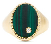 Diamond, Malachite & Gold Signet Ring