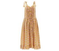 Thekla Basque-waist Floral Cotton-poplin Dress