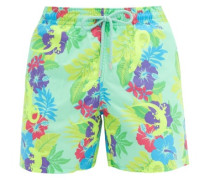 Moorea Floral And Gecko-print Shell Swim Shorts