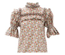 Lucy Smocked Floral-print Cotton Top