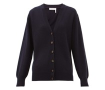 Drawstring-back Buttoned Cashmere Cardigan